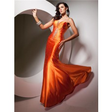 Pretty Mermaid Sweetheart Long Neon Orange Silk Evening Prom Dress Beaded