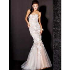 Pretty Mermaid Sweetheart Long Nude Tulle Lace Evening Prom Dress With Applique