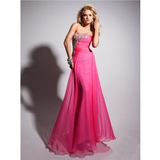 Pretty Strapless Long Hot Pink Chiffon Prom Dress With Beading