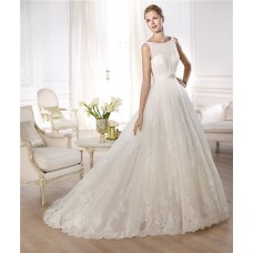 Princess A Line Bateau Neckline Sleeveless Lace Tulle Wedding Dress Crystal Belt