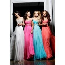 Princess A Line Illusion Neckline Cap Sleeve Long White Chiffon Evening Prom Dress V Back
