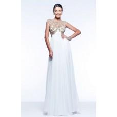 Princess A Line Illusion Neckline Empire Waist Long White Chiffon Beaded Prom Dress