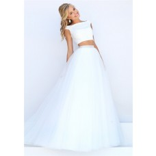 Princess A Line Off The Shoulder Two Piece White Tulle Pearl Beaded Prom Dress