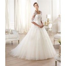 Princess A Line Strapless Backless Three Quarter Long Sleeve Lace Tulle Wedding Dress