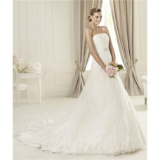 Princess A Line Strapless Lace Wedding Dress With Detachable Crystal Belt