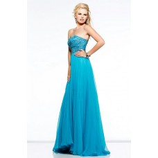 Princess A Line Strapless Long Blue Chiffon Beaded Occasion Evening Prom Dress
