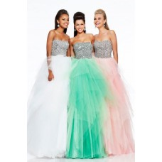 Princess A Line Strapless Long Mint Green Tulle Sequin Beaded Prom Dress