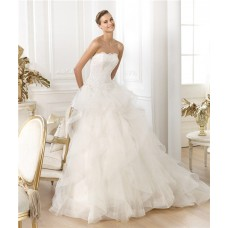 Princess A Line Strapless Scalloped Neckline Layered Tulle Beaded Lace Wedding Dress