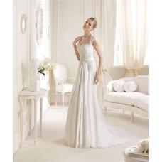 Princess A Line Sweetheart Neckline Cap Sleeve Lace Chiffon Wedding Dress Keyhole Open Back