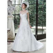 Princess A Line Sweetheart Tulle Lace Corset Wedding Dress Detachable Straps