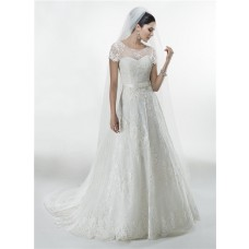 Princess A Line Sweetheart Vintage Lace Wedding Dress With Short Sleeve Jacket Bow Sash