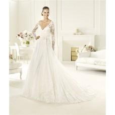 Princess A Line V Neck Keyhole Back Long Sleeve Lace Wedding Dress