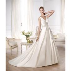 Princess A Line V Neck Open Back Ruched Satin Beaded Wedding Dress