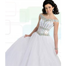 Princess Ball Gown Off The Shoulder White Tulle Beaded Teen Prom Dress