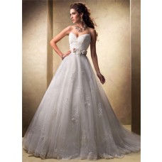 Princess Ball Gown Sweetheart Spaghetti Strap Tulle Lace Wedding Dress With Belt