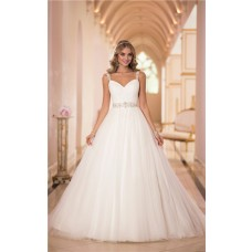 Princess Ball Gown Sweetheart Tulle Beaded Wedding Dress With Straps Sash