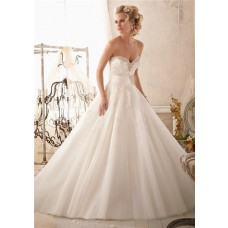 Princess Ball Gown Sweetheart Tulle Lace Beaded Wedding Dress With Crystal Belt