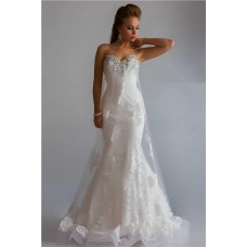 Princess Mermaid Sweetheart Low Back Long White Lace Tulle Beaded Evening Prom Dress