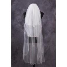 Princess Tiers Tulle Pearls Beaded Waltz Length Wedding Bridal Veil
