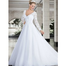 Princess V Neck Long Sleeve Lace Tulle Glitter Wedding Dress