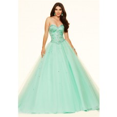Puffy Ball Gown Strapless Mint Green Satin Tulle Beaded Prom Dress Corset Back