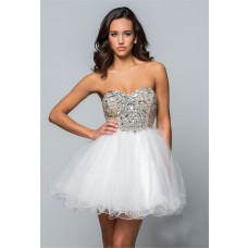 Puffy Strapless Short Mini White Tulle Beaded Cockatil Prom Dress Corset Back