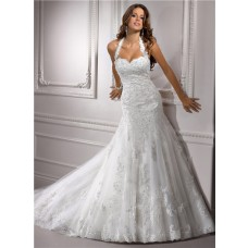 Romantic A Line Halter Straps Sweetheart Beaded Lace Wedding Dress With Buttons