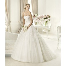 Romantic A Line Princess Sweetheart Tulle Lace Applique Wedding Dress