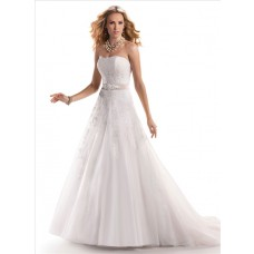 Romantic A Line Strapless Lace Wedding Dress With Detachable Ribbon Crystal Belt