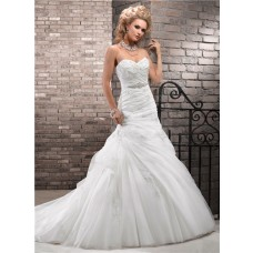 Romantic A Line Sweetheart Ruched Tulle Lace Wedding Dress With Crystal Belt