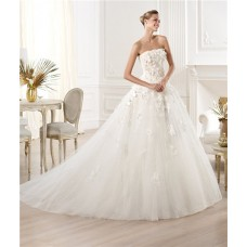 Romantic Ball Gown Strapless Tulle Lace Floral Wedding Dress With Train