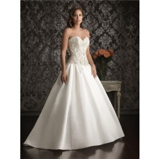 Romantic Ball Gown Sweetheart Satin Unique Beaded Pearl Wedding Dress