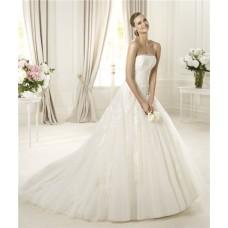 Romantic Beauty Princess A Line Strapless Lace Tulle Wedding Dress
