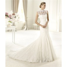 Romantic Fitted Mermaid Trumpet High Neck Illusion Back Lace Wedding Dress