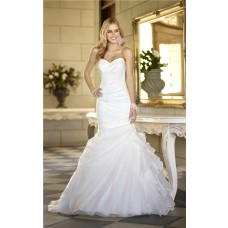 Romantic Memaid Sweetheart Ruched Organza Ruffle Corset Wedding Dress