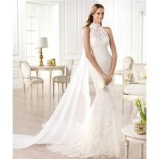 Romantic Mermaid High Neck Empire Lace Wedding Dress With Detachable Train