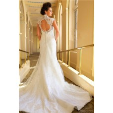 Romantic Mermaid Scalloped French Lace Open Back Wedding Dress With Buttons
