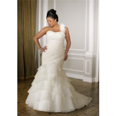 Romantic Mermaid Strapless Organza Ruffle Plus Size Wedding Dress With Detachable Strap
