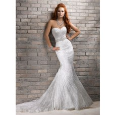 Romantic Mermaid Sweetheart Corset Back Lace Wedding Dress With Wrap Belt