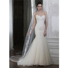 Romantic Mermaid Sweetheart Low Back Organza Lace Wedding Dress With Buttons