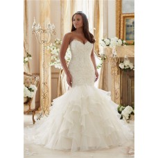 Romantic Mermaid Sweetheart Organza Ruffle Corset Plus Size Wedding Dress