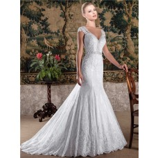 Romantic Mermaid V Neck Cap Sleeve Lace Beaded Wedding Dress With Buttons