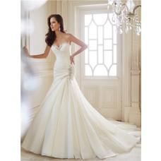 Romantic Trumpet Mermaid Sweetheart Draped Satin Organza Swarovski Crystal Wedding Dress Corset Back