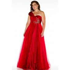 Royal A Line One Shoulder Long Red Silk Tulle Plus Size Party Prom Dress