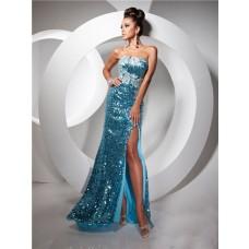 Royal Sheath Strapless Long Blue Sequin Prom Dress With Slit Beading Rhinestones