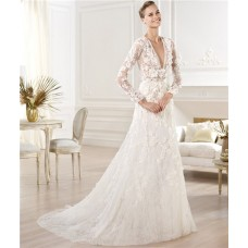 Sexy A Line Deep V Neck Sheer Long Sleeve Lace Wedding Dress With Flowers