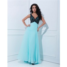 Sexy A Line V Neck Empire Waist Pleated Long Aqua Chiffon Black Beaded Prom Dress