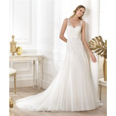Sexy A Line V Neck Sheer Straps Beaded Sequins Tulle Wedding Dress With Belt Bow