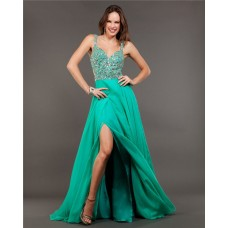 Sexy Backless High Slit Long Green Chiffon Beaded Prom Dress With Straps