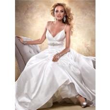 Sexy Ball Gown Deep V Neck Spaghetti Strap Taffeta Wedding Dress With Crystals